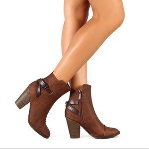 Brown Vegan Leather Heeled Booties